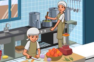 imagem contendo duas merendeiras na cozinha de uma escola