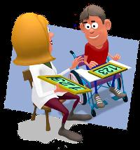 professor de apoio com aluno