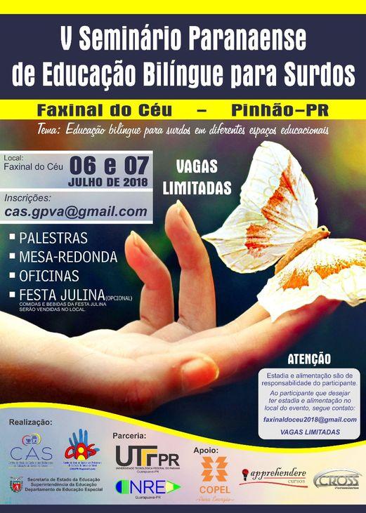 imagem que contém informações sobre o quinto seminário paranaense de educação bilíngue para surdos