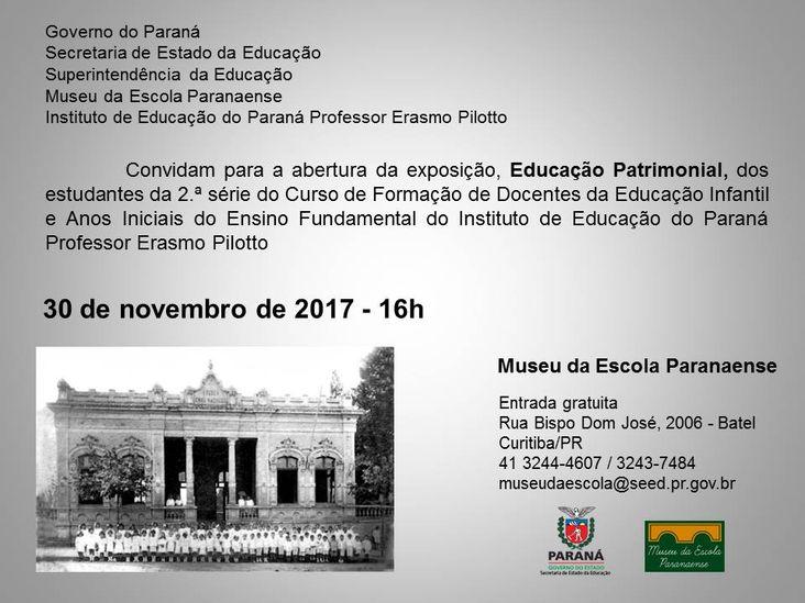 convite exposição Educação Patrimonial